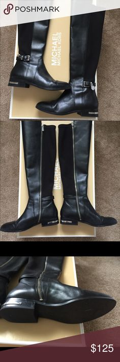 MICHAEL KORS Leather Boots Michael Kors Eileen flat boot style number 40F4AIFB6L. Excellent condition, only worn a handful of times. KORS Michael Kors Shoes Winter & Rain Boots