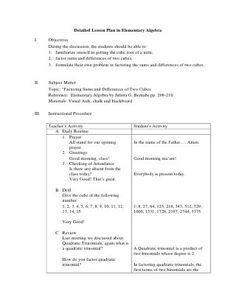 Detailed Lesson Plan In Mathematics 2 I Objectives At The