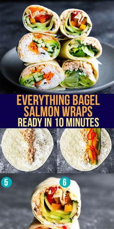 These three salmon wraps deliver big on flavor, are simple to prepare, and are perfect for an easy lunch! Made with simple ingredients, you can make them quickly. Everything Bagel Salmon Wraps ready in only 10 minutes! #sweetpeasandsaffron #bestlunchideas #simpleingredients #readyunder30minutes #salmon Best Lunch Recipes, Amazing Recipes, Lunch Meal Prep, Meal Prep Bowls, Work Lunches, Lunches And Dinners, Salmon Wrap, Salmon Sushi, Salad Wraps