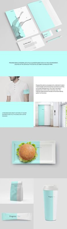Progress Bar is an urban tech restaurant catering to IT professionals. Restaurant color blocking identity, #stationery and packaging design. // THIS IS SO GOOD
