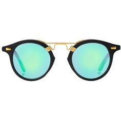 ST. LOUIS Matte Black (€210) ❤ liked on Polyvore featuring accessories, eyewear, sunglasses, glasses, matte glasses, mirror lens sunglasses, mirror sunglasses, mirrored glasses and matte lens sunglasses