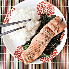 Steamed Wild Salmon with Mizuna, Mustard Greens, Soy Sauce and Ginger