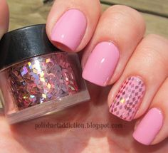 "Polish Art Addiction: Pink Glitter ""Glequins"""