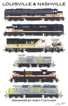 """An 11""""x17"""" poster with some of Andy Fletcher's hand drawings of Louisville & Nashville locomotives and rolling stock."""