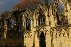 The ruins of the Benedictine St. Mary's Abbey, founded 1055, once the richest abbey in the north of England.
