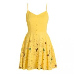 Yellow dress with bird print and shoulder straps ❤ liked on Polyvore featuring dresses, white spaghetti strap dress, yellow dress, bird dress, yellow day dress and white flared skirt