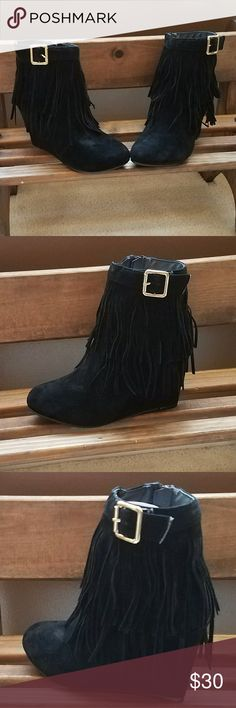 Black Wedge Fringe Booties !!Last 2 Pairs!! -Price Firm Unless Bundled -Smooth Black Faux Suede Finish -Comfortable Wedge Heel -Double Layer of Fringes  -Gold Buckle -Zipper Closure -Color: Black -Material: Synthetic Suede Shoes Ankle Boots & Booties
