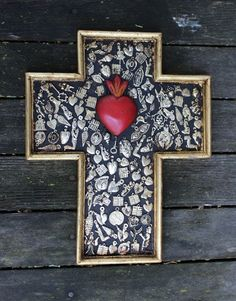 Sacred Heart Wood Cross Milagro / Miracles Mexican Folk Art Michoacán Hand Made