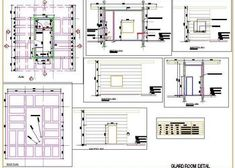 Guard Room having pergola on ceiling with attached toilet, showing its interior and exterior finishes detail through elevations and sections. Autocad, Interior And Exterior, Interior Design, Floor Layout, Good Manufacturing Practice, Toilet Design, Ayurvedic Medicine, Floor Plans, Industrial