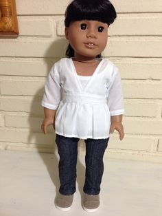 Adorable white top for 18 inch dolls by AnicksBoutique on Etsy, $13.00