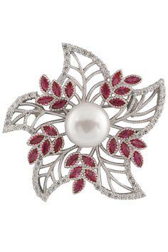 Splendid Pearls - Pink Cubic Zirconia & Pearl Flower Brooch