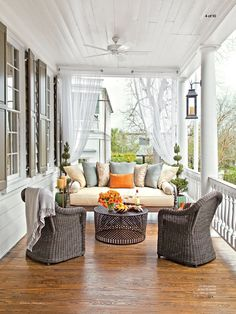Beautiful Front Porch Design Ideas For Outdoor Living - Remember your front porch! Your porch has existing space and with the correct front porch ideas you can change it effectively into an outdoor living r. Outdoor Curtains, Outdoor Rooms, Outdoor Living, Outdoor Furniture Sets, Front Porch Curtains, Sheer Curtains, Front Porch Furniture, Sunroom Furniture, Garden Furniture