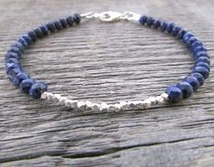 lapis lazuli & hill tribe silver bracelet lapis by earthwatersol