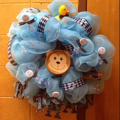 It's a boy!  Deco mesh wreath for baby shower