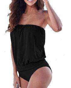 ZANZEA Donna Estate Spiaggia Senza Spalline Bikini Reggiseno Imbottito Costume Bagno Nero IT 48/ASIA 3XL