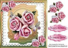 Pretty ornate pink roses with diamonds on lace 8x8 on Craftsuprint - Add To Basket!