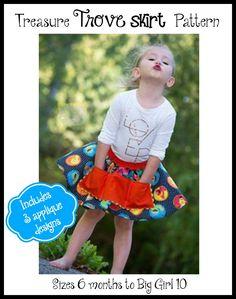 Girl's Treasure Trove Skirt PDF Sewing Pattern by Ellie and Mac