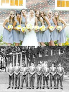 Dallas wedding photographer, bridal party pictures, gray bridesmaid dresses, gray groomsmen tuxedos, white and yellow wedding flower bouquets, Yellow and Gray Wedding | Perkins Chapel » Mary Fields Photography