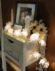 coffee filter twinkle lights, crafts, how to, repurposing upcycling Twinkle Lights, String Lights, Twinkle Twinkle, Light String, Fairy Lights In A Jar, Jar Lights, Jar Lanterns, Hanging Lanterns, Painters Cloth