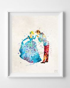 Cinderella Print Prince Charming Watercolor Type 1 by InkistPrints