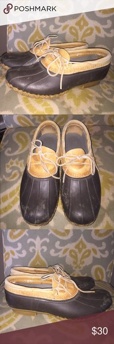 """L L Bean Boots duck Shoes Sz 10 brown rubber Men's L L Bean """"Bean Boots"""" shoes. Brown rubber and leather. Duck shoes. Size 10. Good preowned condition L.L. Bean Shoes Rain & Snow Boots"""