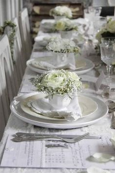 lovely white table setting