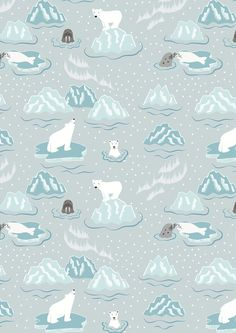 Half metre C3.2 Northern Lights Walrus and Friends Icy Grey Lewis & Irene Patchwork Quilting Fabric