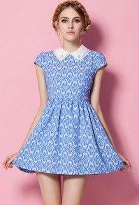 Blue detailed pattern vintage short dress
