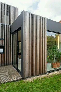 of Wooden frame house / a + samuel delmas - 13 Wooden frame house / a + samuel delmas, I like the concept and use of available space.Wooden frame house / a + samuel delmas, I like the concept and use of available space. House Cladding, Timber Cladding, Exterior Cladding, Cladding Ideas, Rainscreen Cladding, Aluminium Cladding, Timber Slats, House Facades, Wall Cladding