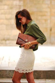 Shop this look on Lookastic: https://lookastic.com/women/looks/olive-dress-shirt-beige-mini-skirt-brown-clutch-gold-bracelet/11535 — Olive Dress Shirt — Brown Leather Clutch — Gold Bracelet — Beige Crochet Mini Skirt