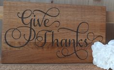 Unique Give Thanks Cutting Board! Great housewarming or new homeowner gift. Engraved Cutting Board, Personalized Cutting Board, Kitchen Decor Items, New Homeowner Gift, Wedding Gifts For Couples, Wood Gifts, Wooden Kitchen, Give Thanks, Couple Gifts