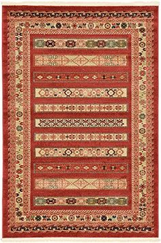 Modern Tribal 4 feet by 6 feet 4 x 6 Nomad Rust Red Contemporary Area Rug >>> Click image for more details.