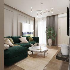 Classy Living Room, Home Design Living Room, Living Room Green, Living Room Modern, Living Room Interior, Home Interior Design, Living Room Decor, Apartment Interior, Living Room Inspiration