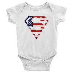American flag superman Infant short sleeve one-piece