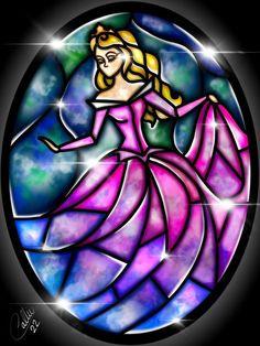 Stained Glass Sleeping Beauty by CallieClara: