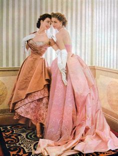 Suzy Parker & Dorian Leigh Parker. Evening gowns. 1950s fashion