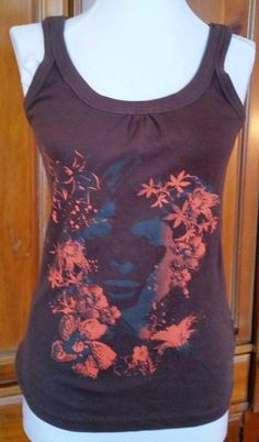 9d1d023ec1f53 Colours of the World Tank Top Womens size S Floral Face Graphic Brown  Cotton  ColoursoftheWorld