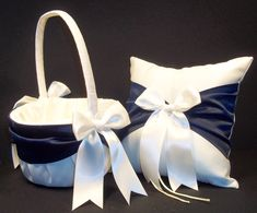 Use coupon pinit2014 for 15% off until 12-31-14  Marine Blue  & Ivory or White Wedding Ring Bearer Pillow & Flower Girl Basket  by Jessicasdaydream