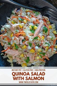 This Instant Pot Quinoa Salad With Salmon is a delicious and nutritious meal that's so very easy to make. Instant Pot Quinoa Salad With Salmon | Quinoa Salad | Quinoa Salmon Salad | Quinoa Salad Recipe | Instant Pot Quinoa Salad | Instant Pot Quinoa | Cold Quinoa Salad | TwoSleevers | #twosleevers #quinoa #quinoasalad #salmon #instantpotrecipes Cold Quinoa Salad, Quinoa Salmon, Salmon Salad Recipes, Quinoa Salad Recipes, Quinoa Recipe, Quinoa In Rice Cooker, Salmon Dishes, Low Carb Appetizers, Salad Ingredients