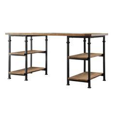 TRIBECCA HOME Myra Vintage Industrial Modern Rustic Oak Storage Desk   Overstock.com Shopping - The Best Deals on Desks