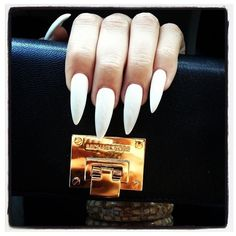 White Stiletto Nails Stiletto Nails ❤ liked on Polyvore featuring beauty products, nail care, nail treatments, nails and makeup