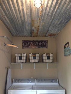 sheet metal laundry room ceiling project
