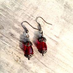 Ox Blood Red Drop Earrings Gunmetal Filigree Victorian #DropEarrings #Earrings #Jewelry #VictorianEarrings #Steampunk #Red