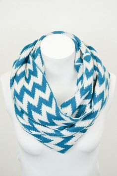 Knit Chevron Infinity Scarf - Teal
