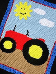 Crochet Patterns Farm Tractor Afghan Pattern Easy | eBay