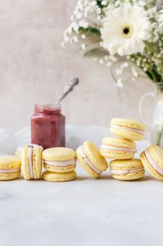 These sweet, tart lemon rhubarb macarons are the ultimate summery treat. It tastes like pink lemonade only much, much better. Best Dessert Recipes, Easy Desserts, Sweet Recipes, Summer Desserts, Dessert Simple, Slow Cooker Desserts, Baking Recipes, Cookie Recipes, Macaron Recipe
