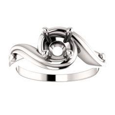 14kt White Engagement Ring Mounting