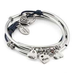 This Mini Charmer charm bracelet comes with 2 hammered heart silver charms and our best selling I Love Mom heart charm attached. Handcrafted in the USAyou can