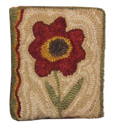 "Hooked Rug ""Red Flower"" a Payton Primitives design available through www.campwool.com"