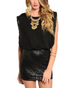 This Black Sequin Blouson Dress is perfect! #zulilyfinds